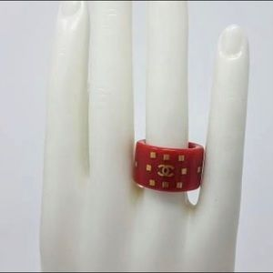 CHANEL Gold Tone Red Resin Ring size 6